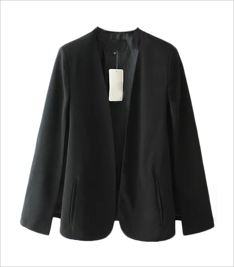 Zooomberg Black Long Sleeve Casual Cape Blazer _Hauterfly