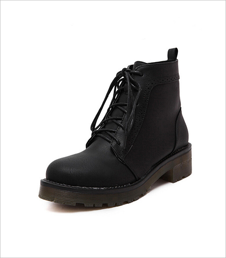 Zooomberg Black Round Toe Vintage Lace Up Boots_Hauterfly