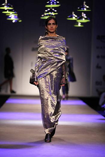 Akaaro by Gaurav Jai Gupta Zari Sari and Sheer Wool Blouse_AIFW AW16_Hauterfly