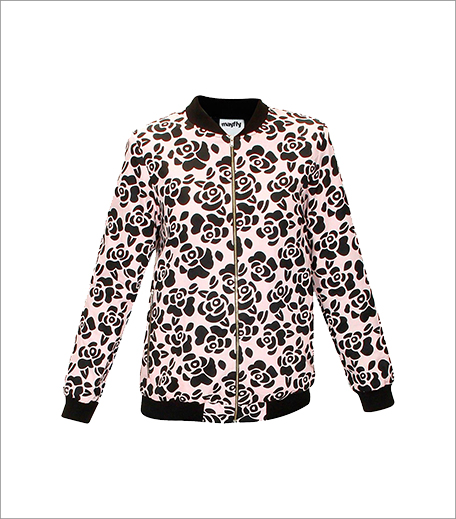 Floral print pale pink bomber jacket_Hauterfly