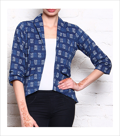 Keva Blue Block Printed Cotton Jacket_Indian Roots_Hauterfly