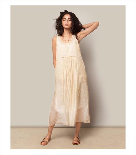 Nicobar Pleated Chanderi Dress_Gold_Hauterfly
