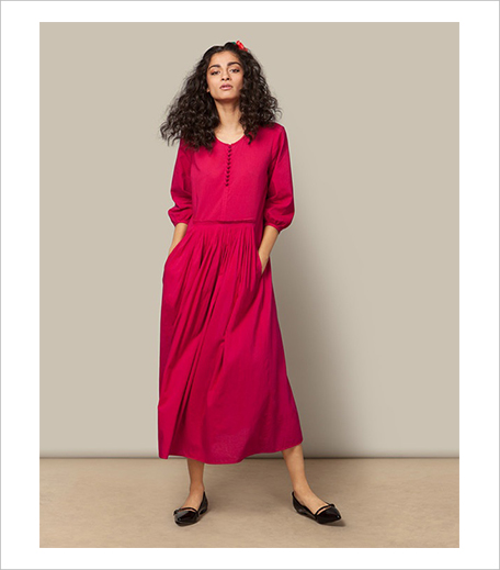 Nicobar Pleated Waist Dress_Fuchsia_Hauterfly