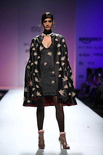 RIna Dhakka Chinar Dress with jacket_AIFW AW16_Hauterfly