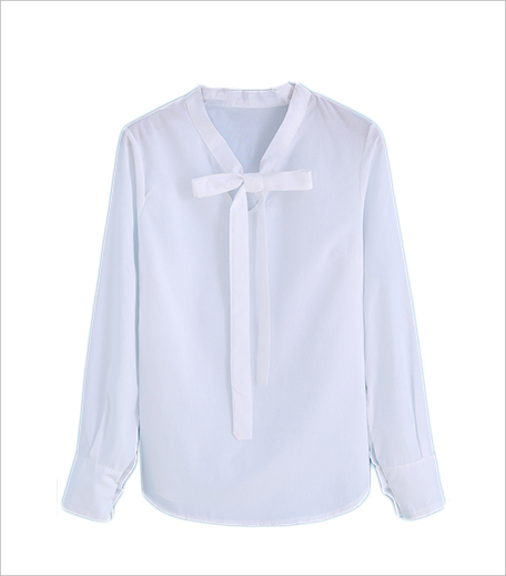 SR Store Self-tie Bow White Blouse_Hauterfly