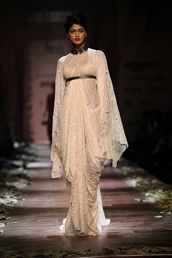 Shantanu & Nikhil Lace Gown With Leather Detailing_AIFW AW16_Hauterfly