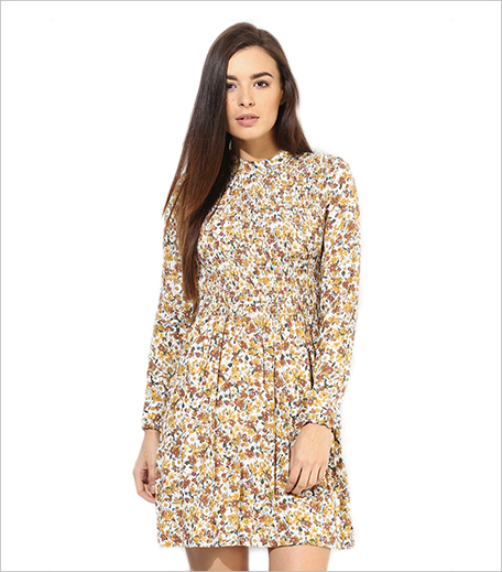 Topshop Beige Floral Shirred Dress_Hauterfly