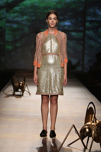 Varun Bahl 1 Gold Dress With Bomber Jacket_AIFW AW16_Hauterfly