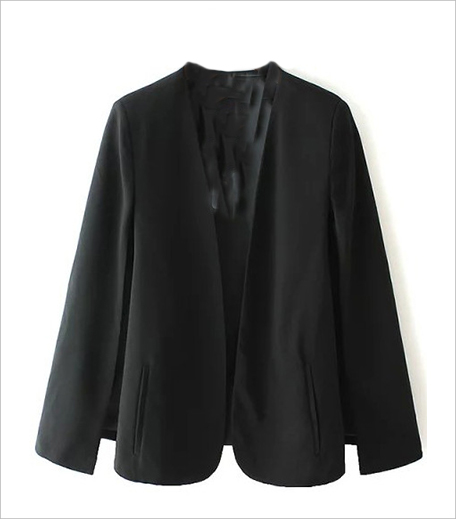 Zooomberg_Black Long Sleeve Casual Cape Blazer_Hauterfly