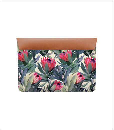 A Painted Protea Pattern Real Leather Envelope Sleeve_Hauterfly