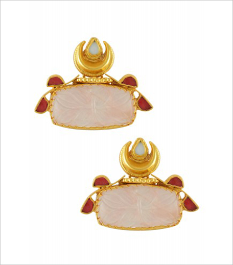 Amrapali Silver Gold Plated Carved Crystal Rose Quartz Rawa Moon Earrings_Hauterfly