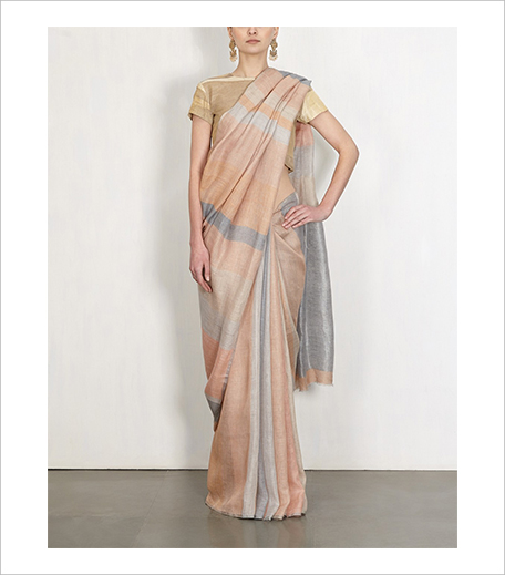 Anavila Slate And Stone Striped Linen Sari_Hauterfly