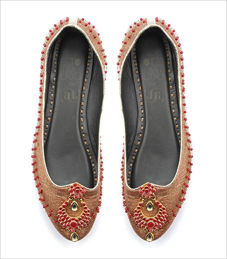 Ashima Leela Ruby red stones embellished copper foil mojaris_Hauterfly