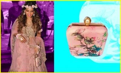 Bipasha Basu Mehendi Ceremony Accessory_Princesse K Floral Box Clutch_Hauterfly