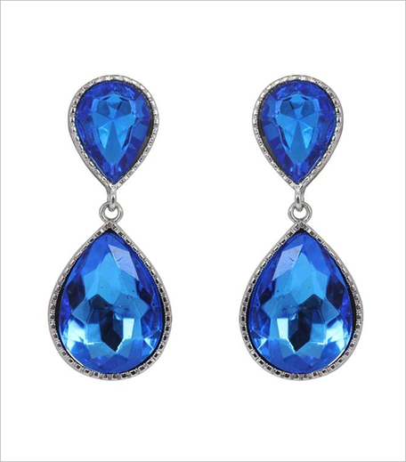Blue Stone Blue dual droplet drop earrings_Hauterfly