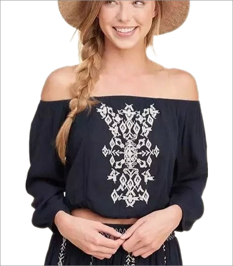 Closet Diaries Off Shoulder Embroidered Top Blue_Hauterfly