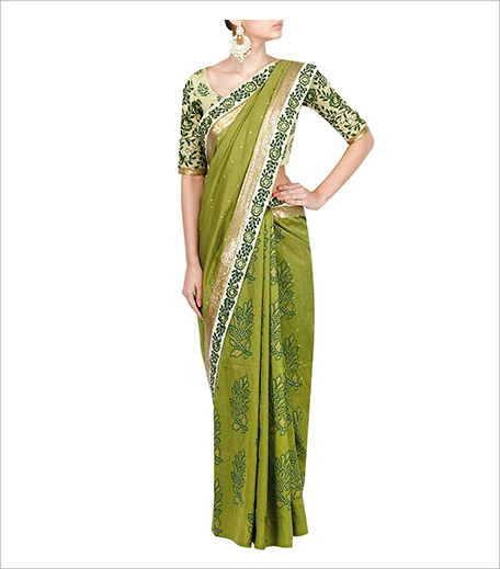 Debarun Mehendi Green Block Printed Sequins Sari With Thread Embroidered Printed Blouse_Hauterfly