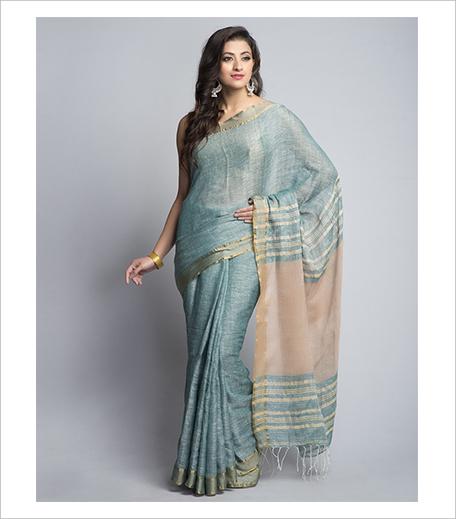 Fab India Linen Woven Chambray Sari_Hauterfly