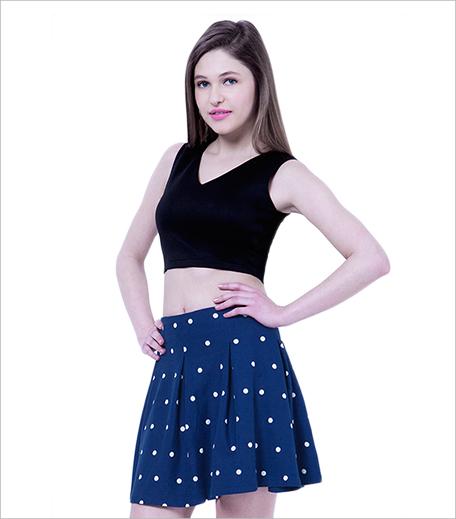 Faballey Basic Dotted Skater Skirt in Blue_Hauterfly