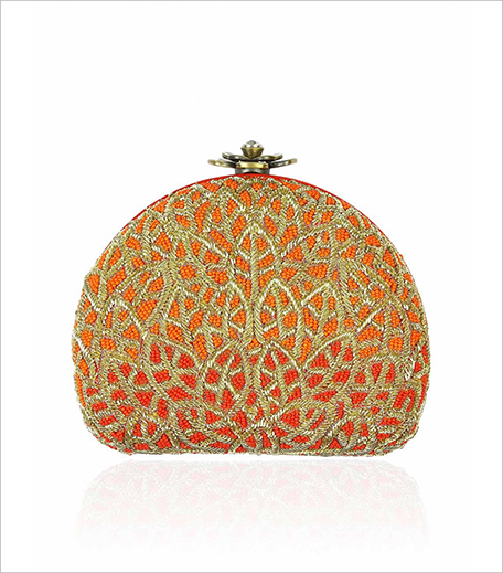 Love to bag Orange and gold zardozi and beads embroidered box clutch_Pernia Pop up Shop_Hauterfly