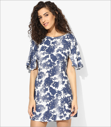 Mexx Navy Blue Coloured Printed Skater Dress_Hauterfly