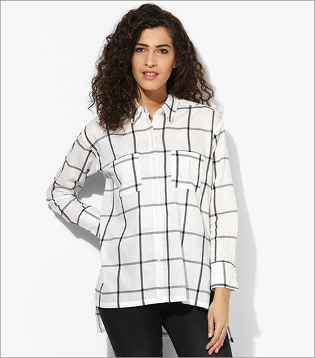Mexx White Checked Blouse_Hauterfly