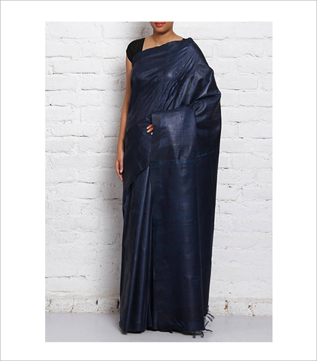 Pragati ki ore Navy Blue Tussar Desi Silk Herringbone Pattern Saree_Hauterfly