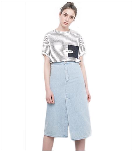 Pull & Bear Long Denim Skirt With Centre Opening_Hauterfly
