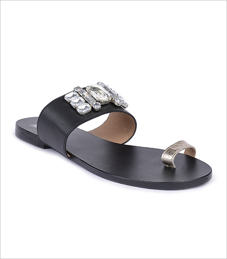 The Tan Base Amora Black Bling Flats_Hauterfly
