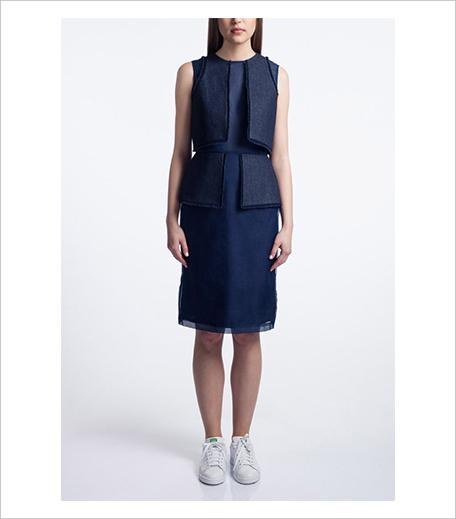 Vizyon Denim Panelled Knee Length Dress Model Shot_Hauterfly