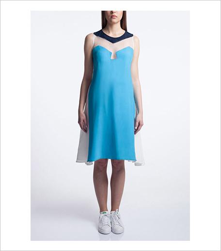 Vizyon Flowy Panelled Dress in Blue_Hauterfly