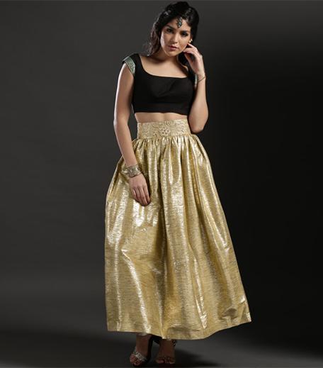 ohaila-khan-gold-textured-tulip-skirt_hauterfly