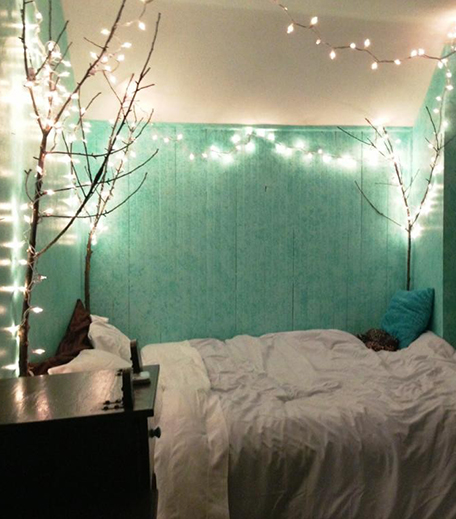 Bed Frame Fairy Lights Decor_Hauterfly