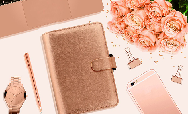Filofax Saffiano Organiser in Rose Gold_Hauterfly