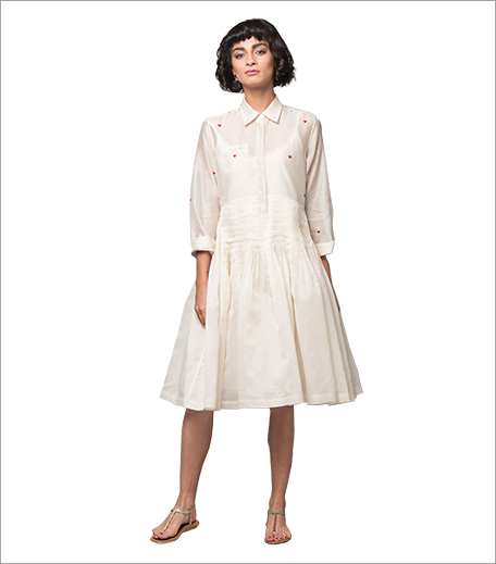 Nicobar Pleated Waist Dress Ivory_Inpost_Hauterfly