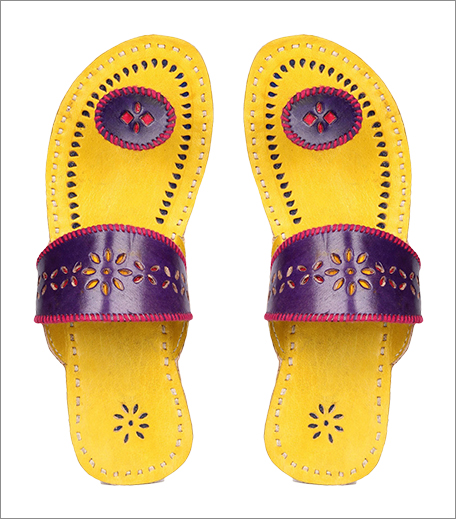 Tuesday Shoes Day_Kolhapuris_Ajio Kutch Embroidered Red Leather Chappals_Hauterfly