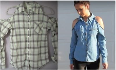 DIY old tshirt into cold shoulder shirt_Featured_Hauterfly