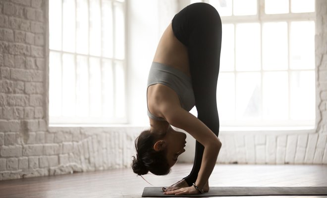 Standing Forward Fold Pose or Uttanasana_yoga for inflexible_Hauterfly