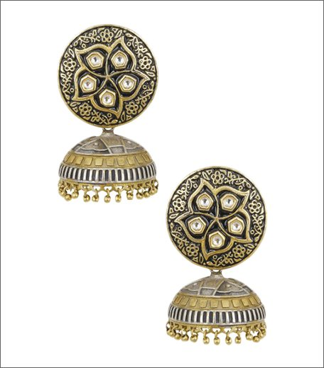 Antique 2 Tone Polki Jhumki Drop Earrings