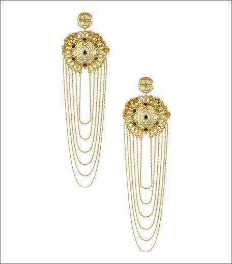 Antique Gold Finish Black Onyx Jaali Work Earrings