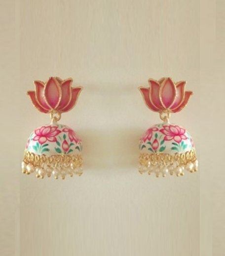 Hand painted lotus jhumka