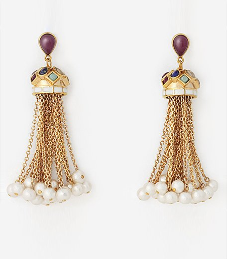 Temple Muse Gemstone Cascade Earrings