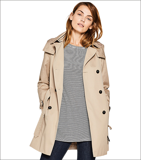 ESPRIT Beige Trench Coat with Detachable Hood