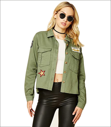 F21 Contemporary Army Patch Jacket