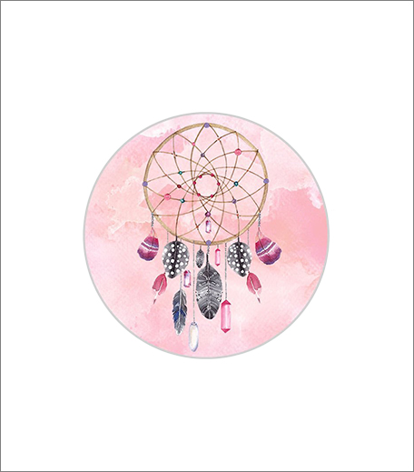 Madanyu Pop Grip Socket For Mobile Phones & Tablets With Pop Car Mount Dreamcatcher Art Brush Stokes Pink (Black)