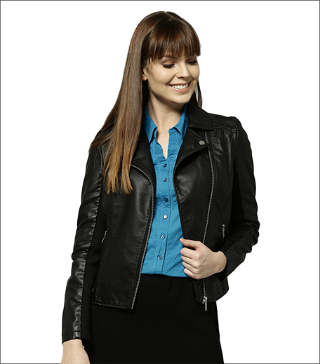 Marks & Spencer Women Black Solid Asymmetric Closure Biker Jacket
