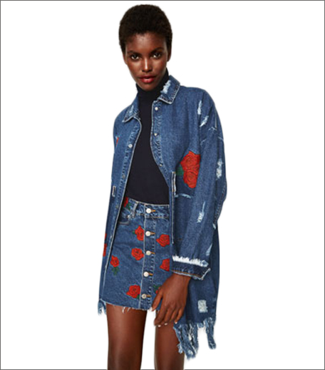 ZARA EMBROIDERED DENIM DUSTER JACKET