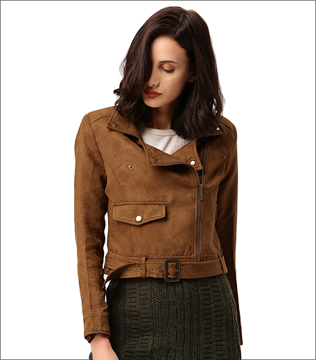 all about you from Deepika Padukone Women Tan Brown Solid Biker Jacket