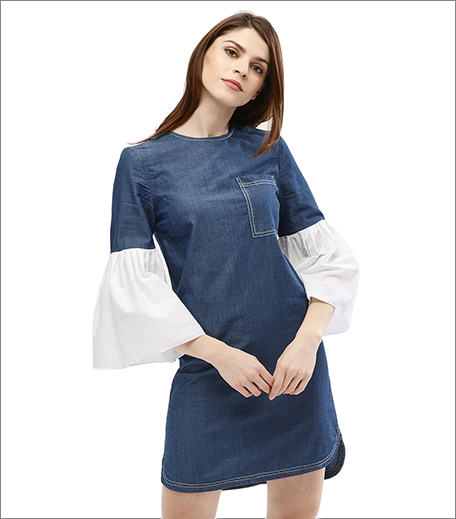 Contrast Cuffs Denim Dress