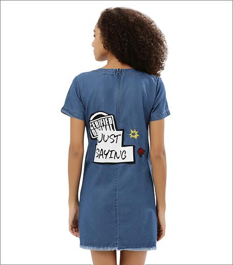 Denim shift dress with back print